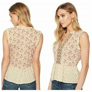 Lucky Brand Women's Mix Print Peplum Top